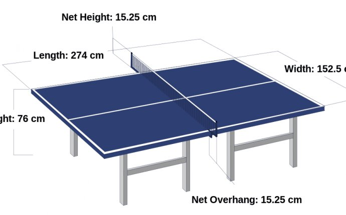 Official table tennis size