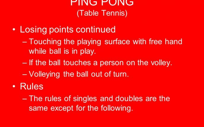 Rules of table tennis singles