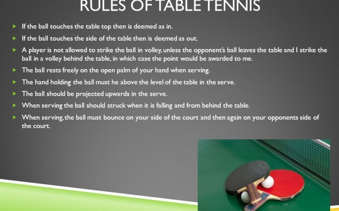 Rules and regulations in Playing table tennis