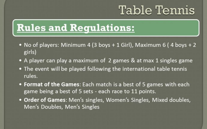 International table tennis rules